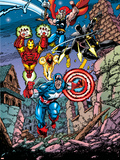Avengers No.21 Cover: Captain America, Thor, Iron Man, Black Panther and Avengers Adhésif mural par George Perez