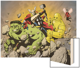 Avengers Finale No.1 Group: Hulk, Thor, Iron Man, Wasp and Avengers Fighting Wood Print by Eric Powell