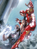 Avengers Annual No.1 Cover: Iron Man and Wonder Man Fighting Plastic Sign by Gabriele DellOtto