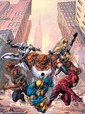 New Avengers No.17 Cover: Wolverine ,Thing, Daredevil, Luke Cage, Ms. Marvel and Spider-Man Plastic Sign by Mike Deodato