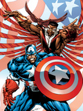 Captain America And The Falcon No.2 Cover: Captain America and Falcon Plastic Sign by Bart Sears