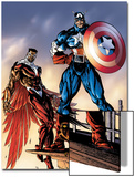 Captain America And The Falcon No.3 Cover: Captain America and Falcon Prints by Bart Sears
