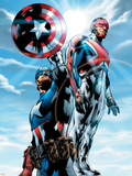 The Ultimates No.4 Cover: Captain America and Captain Britain Charging Plastic Sign by Bryan Hitch
