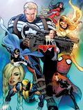 I Am An Avenger No.2 Cover: Steve Rogers, Wolverine, Black Widow, Justice, Firestar, & Spider Woman Wall Decal by Greg Land