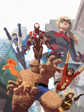 I Am An Avenger No.4 Cover: Thing, Spider Woman, Ms. Marvel, Iron Man, Stature, Justice, & Firestar Plastic Sign by Daniel Acuna