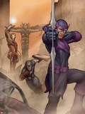 Avengers: Solo No.1 Cover: Captain America, Iron Man, Thor, and Hawkeye Shooting a Bow and Arrow Plastic Sign by John Tyler Christopher