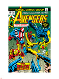 Avengers No.144 Cover: Hellcat, Captain America, Iron Man, Beast, Vision and Avengers Charging Plastic Sign by George Perez