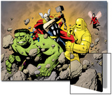Avengers Finale No.1 Group: Hulk, Thor, Iron Man, Wasp and Avengers Fighting Posters by Eric Powell