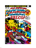 Captain America And The Falcon No.205 Cover: Captain America, Falcon and Agron Fighting and Flying Plastic Sign by Jack Kirby