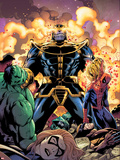 Avengers & The Infinity Gauntlet No.2 Cover: Thanos, Hulk, Spider-Man, Ms. Marvel, and Dr. Doom Plastic Sign by Ron Lim