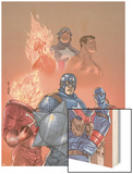 The New Invaders No.1 Cover: Captain America, Union Jack, Blazing Skull and Invaders Wood Print by Scott Kolins