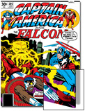 Captain America And The Falcon No.205 Cover: Captain America, Falcon and Agron Fighting and Flying Print by Jack Kirby