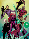 Avengers No.8 Cover: Medusa, Professor X, Dr. Strange, Mr. Fantastic, and Iron Man Plastic Sign by John Romita Jr.