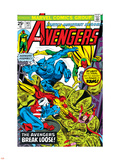 Avengers No.143 Cover: Beast, Captain America, Iron Man, Vision and Avengers Plastic Sign by George Perez