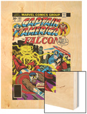 Captain America And The Falcon No.205 Cover: Captain America, Falcon and Agron Fighting and Flying Wood Print by Jack Kirby