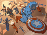 New Invaders No.8 Group: Captain America, Union Jack, Human Torch, Blazing Skull and U.S. Agent Prints by C.P. Smith