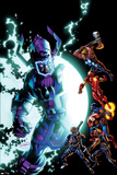 Cataclysm: the Ultimates Last Stand 1 Cover: Galactus, Thor, Iron Man, Captain America, Hawkeye Plastic Sign by Mark Bagley