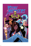 Young Avengers 13 Cover: Hulkling, Prodigy, Wiccan, Noh-Varr, Bishop, Kate, Miss America Plastic Sign by Jamie McKelvie