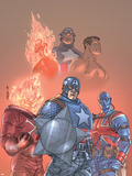 The New Invaders No.1 Cover: Captain America, Union Jack, Blazing Skull and Invaders Wall Decal by Scott Kolins
