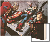 Avengers Finale No.1 Group: Captain America, Giant Man, Iron Man, Thor and Wasp Wood Print by Neal Adams