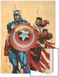 Captain America & The Falcon No.1 Cover: Captain America and Falcon Wood Print by Bart Sears