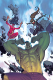 Avengers Assemble 22 Cover: Hulk, Spider Women, Spider-Girl Plastic Sign by Jorge Molina