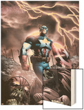 Captain America And The Falcon No.9 Cover: Captain America Wood Print by Joe Bennett