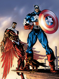 Captain America And The Falcon No.3 Cover: Captain America and Falcon Plastic Sign by Bart Sears