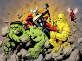 Avengers Finale No.1 Group: Hulk, Thor, Iron Man, Wasp and Avengers Fighting Plastic Sign by Eric Powell