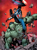 Ultimate Avengers No.4 Cover: Captain America, Hulk, Red Wasp and Black Widow Plastic Sign by Carlos Pacheco