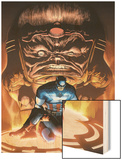 Captain America And The Falcon No.8 Cover: Captain America and Modok Wood Print by Joe Bennett
