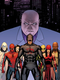 Shadowland No.2 Cover: Daredevil, Spider-Man, Elektra, Iron Fist, White Tiger, Moon Knight, Kingpin Plastic Sign by John Cassaday