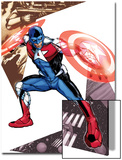 Captain America Corps No.5 Cover: Commander A Croching and Posing Print by Phil Jimenez