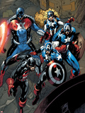 Captain America Corps No.2: U.S. Agent, Captain America, American Dream, and Commander A Wall Decal by Phil Briones