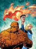 Marvel Adventures Fantastic Four No.43 Cover: Thing, Mr. Fantastic, Invisible Woman and Human Torch Plastic Sign by Salvador Espin