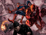 Daredevil No.60 Group: Daredevil, Spider-Man, Iron Fist, and Luke Cage Fighting Plastic Sign by Alex Maleev