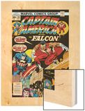 Captain America And The Falcon No.201 Cover: Captain America and Falcon Crouching Wood Print by Jack Kirby