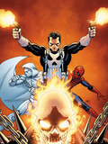 Shadowland No.3 Cover: Ghost Rider, Moon Knight, Spider-Man, and Punisher Posing Plastic Sign by John Cassaday