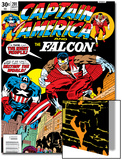 Captain America And The Falcon No.201 Cover: Captain America and Falcon Crouching Posters by Jack Kirby