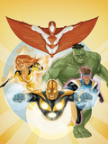 I Am an Avenger No.3 Cover: Stingray, Firestar, Hulk, Nova, and Justice Plastic Sign by Phil Noto