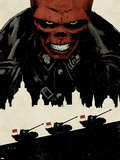 Red Skull No.5 Cover: Portrait of Red Skull with Tanks and City Silhouette Wall Decal by David Aja