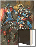 Captain America Corps No.2: U.S. Agent, Captain America, American Dream, and Commander A Wood Print by Phil Briones