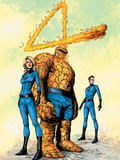 Marvel Knights 4 No.26 Cover: Mr. Fantastic, Human Torch, Invisible Woman, Thing and Fantastic Four Plastic Sign by Valentine De Landro