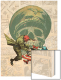 Captain America: The 1940s Newspaper Strip No.3 Cover: Red Skull Fighting Captain America Wood Print by Butch Guice