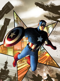 Captain America No.1 Cover: Captain America Jumping Plastic Sign by Steve MCNiven