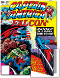 Captain America And The Falcon No.202 Cover: Captain America and Falcon Fighting and Flying Print by Jack Kirby