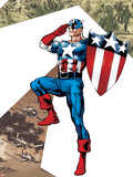 Captain America Corps No.2 Cover: Captain America Standing in Salute Wall Decal by Phil Jimenez
