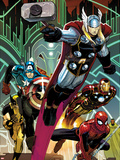 Avengers No.5 Cover: Thor, Captain America, Spider-Man, Iron Man, and Wolverine Flying Plastic Sign by John Romita Jr.