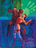 Elektra No.35 Cover: Daredevil and Elektra Fighting and Shooting Plastic Sign by Brian Stelfreeze