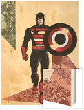 Captain America Corps No.3 Cover: Captain America Walking with his Shield Wood Print by Phil Jimenez